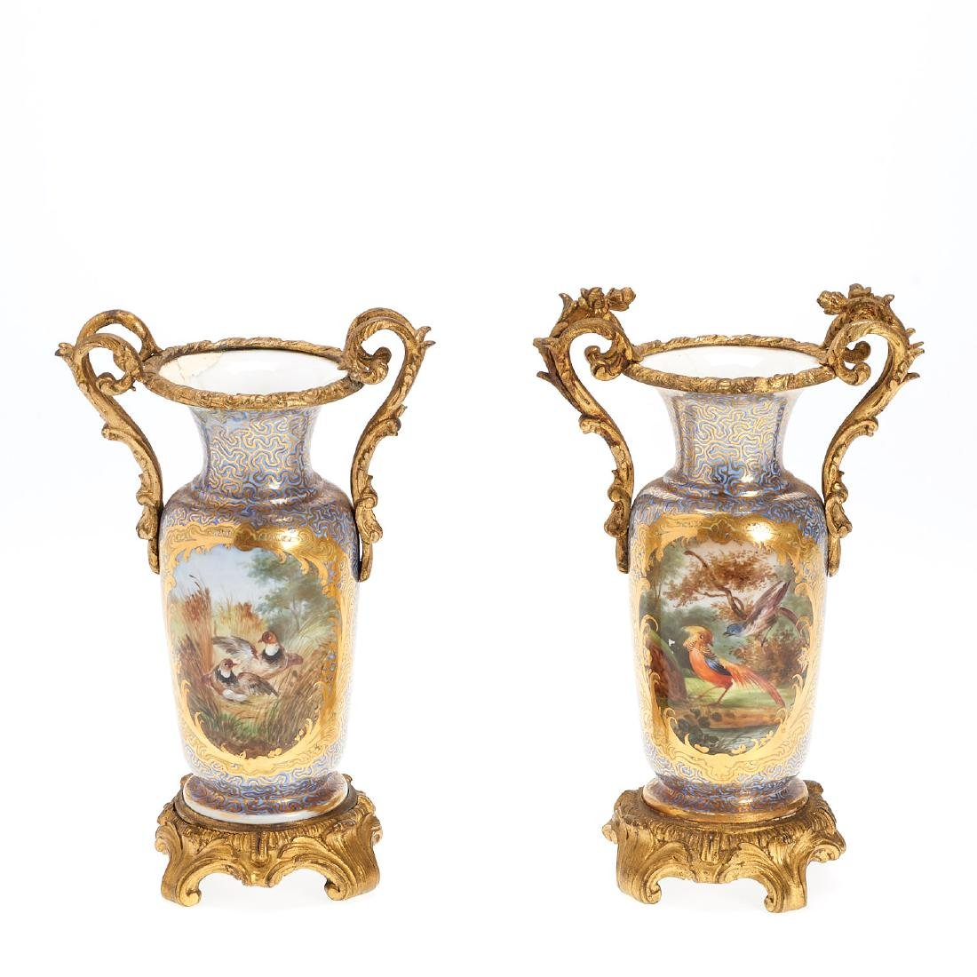 Pair Continental bronze mounted vases - 2