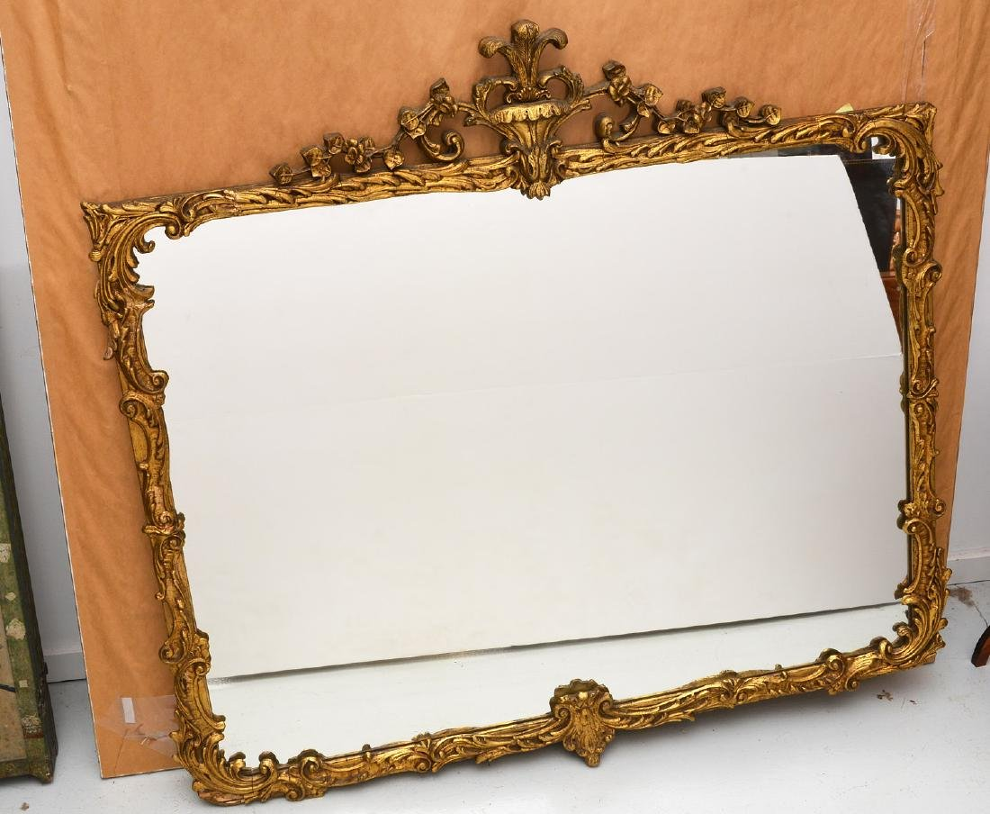 Vintage carved gilt wood wall mirror