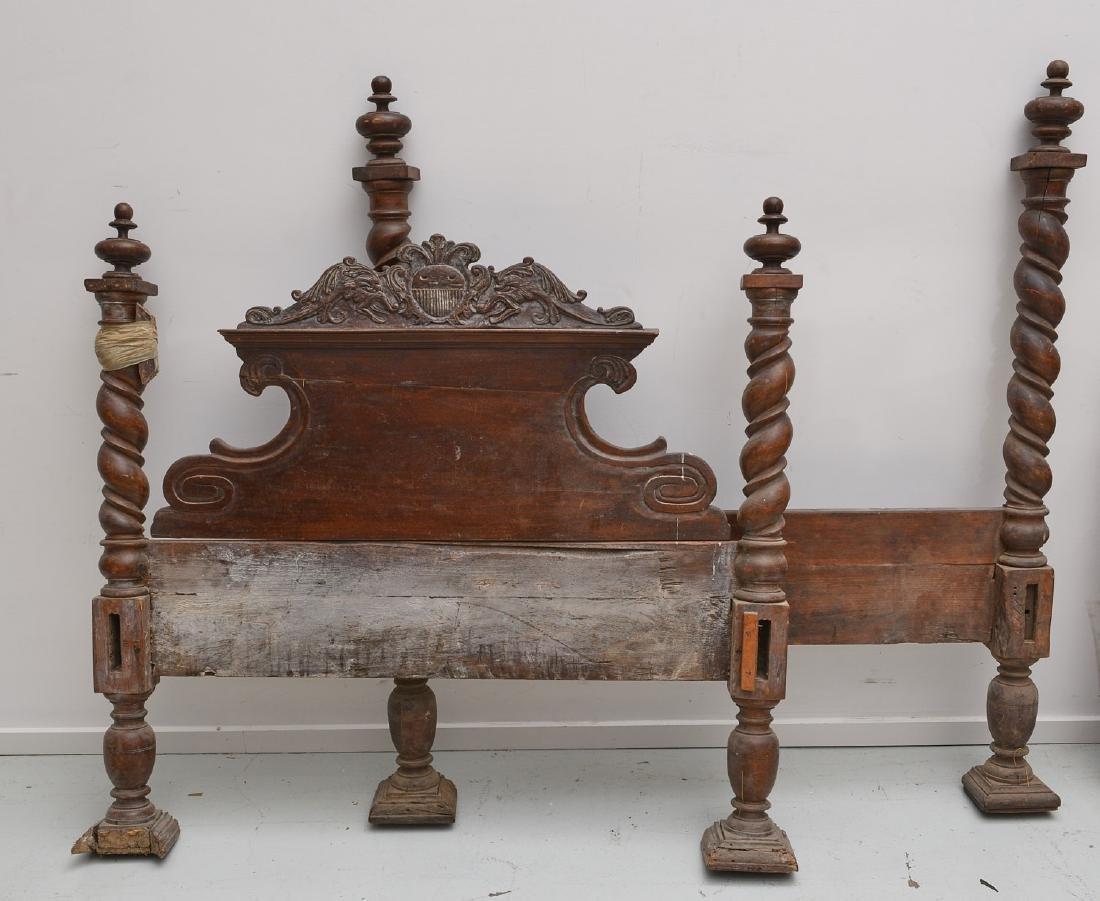 Spanish baroque carved walnut bedstead