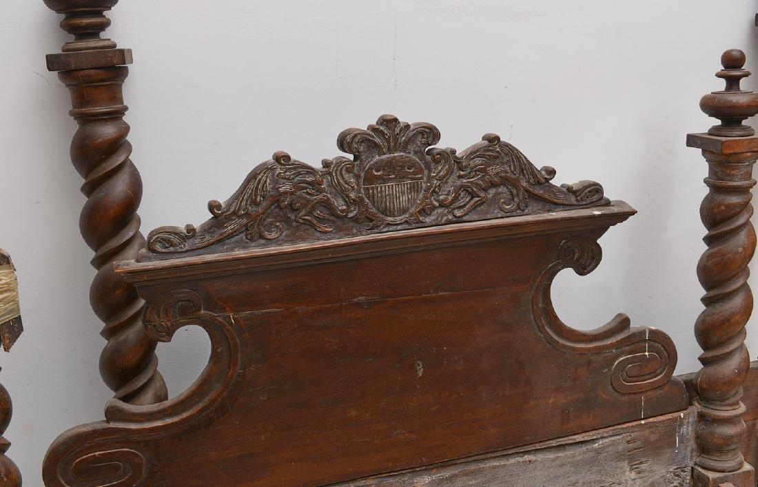 Spanish baroque carved walnut bedstead - 3