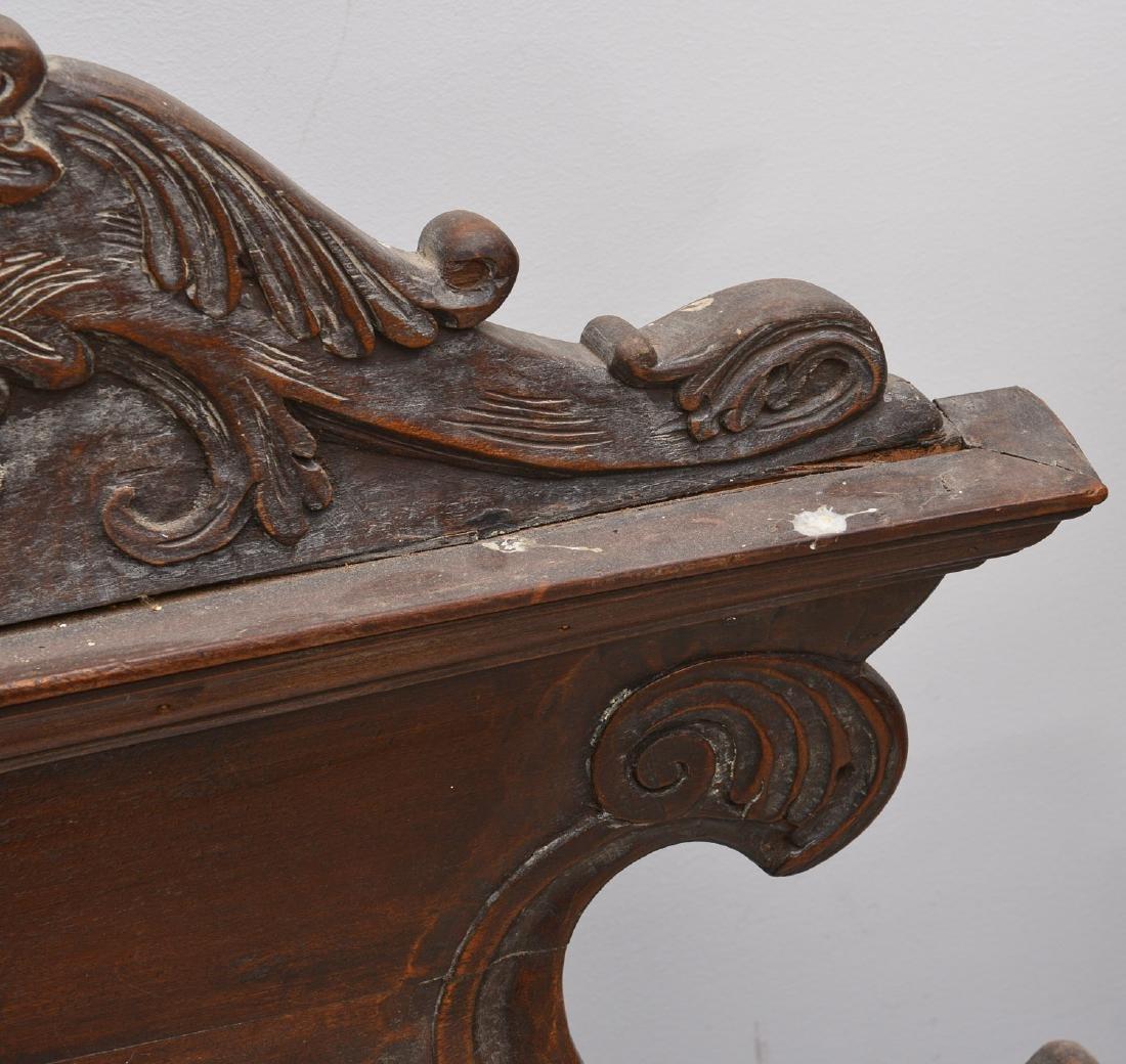 Spanish baroque carved walnut bedstead - 5