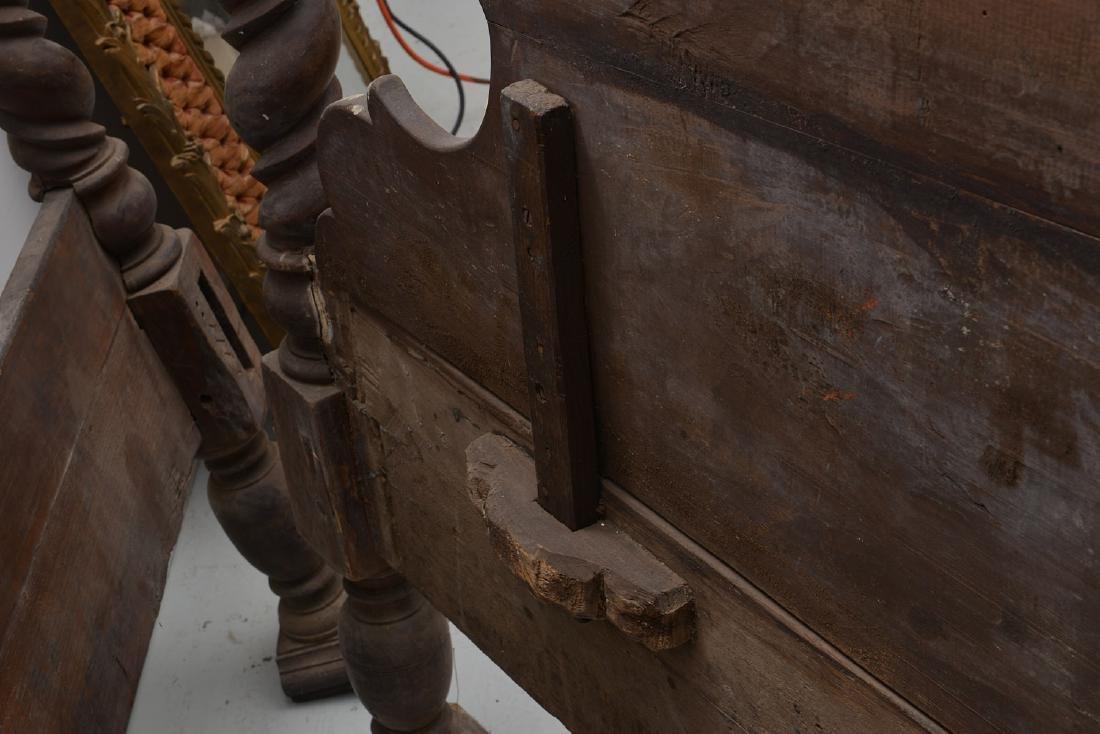 Spanish baroque carved walnut bedstead - 8
