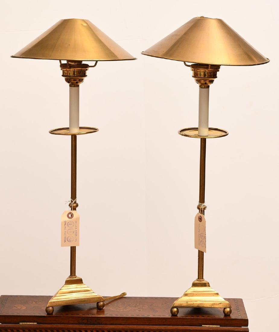 Pair Modernist brass stick lamps