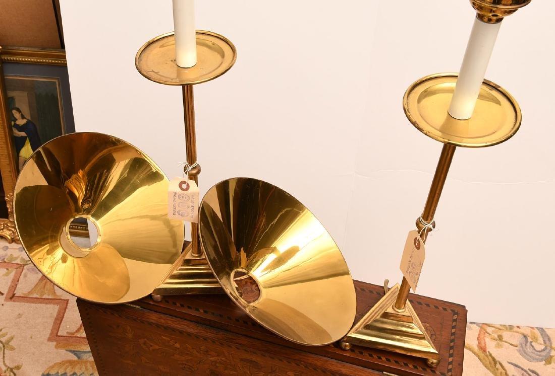 Pair Modernist brass stick lamps - 5