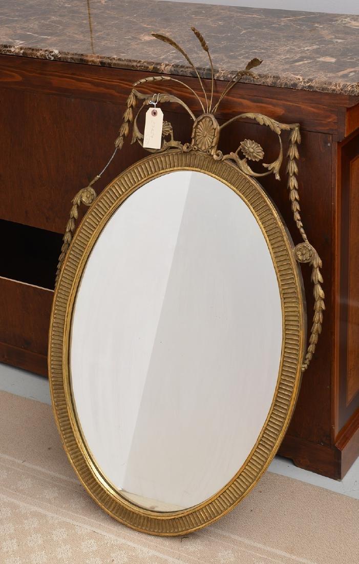 Adams style gilt wood wall mirror