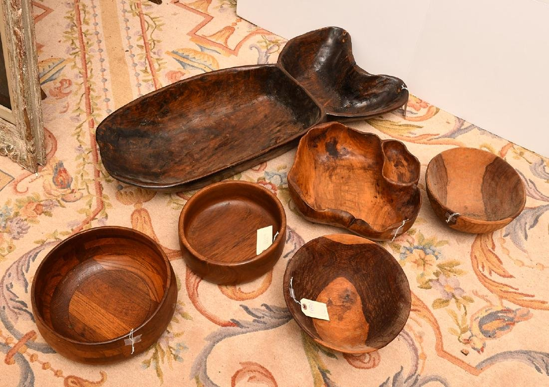Collection (6) wooden serving bowls