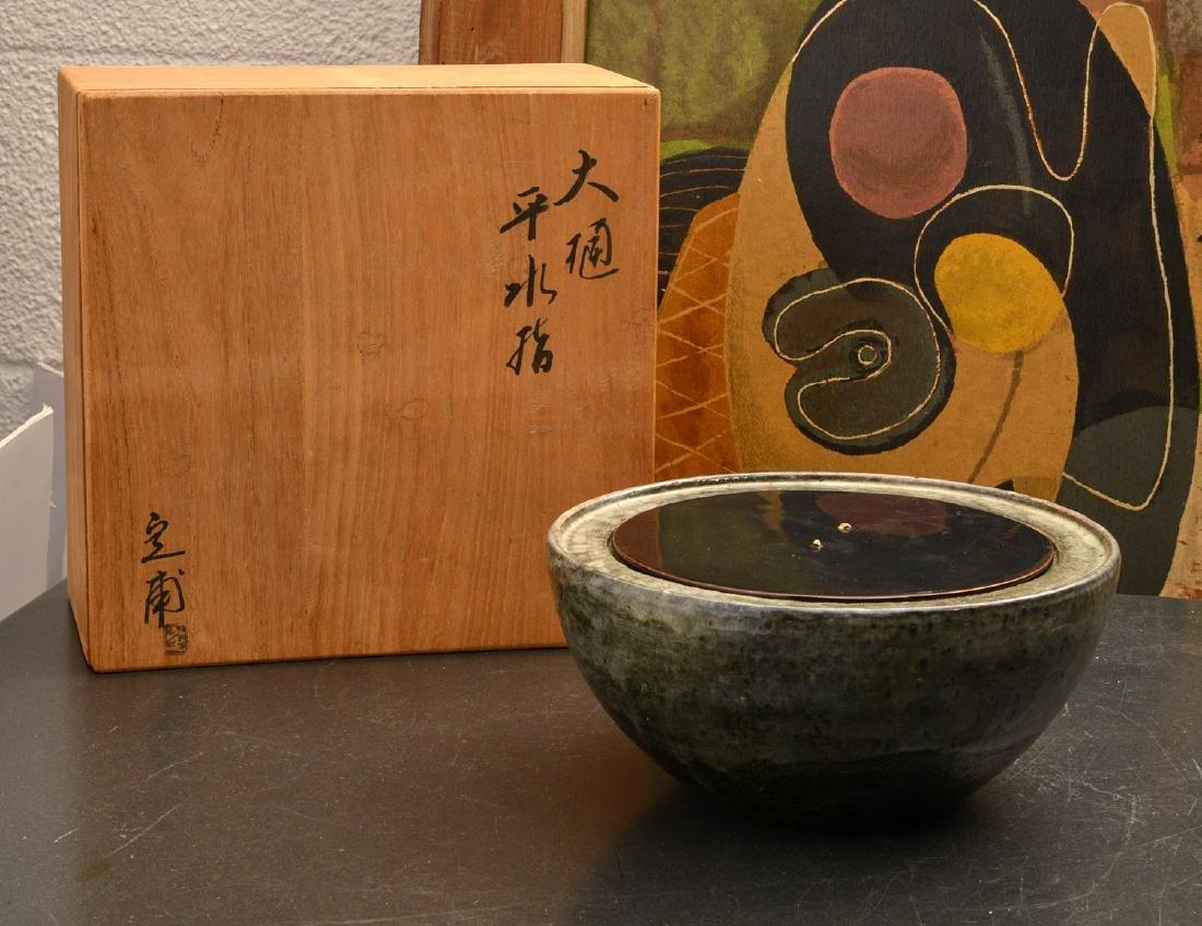 Japanese studio ceramic covered bowl