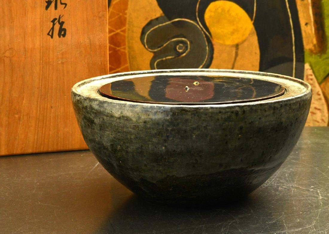 Japanese studio ceramic covered bowl - 2