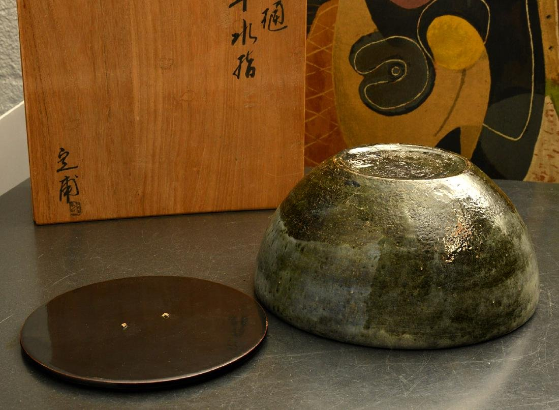 Japanese studio ceramic covered bowl - 5