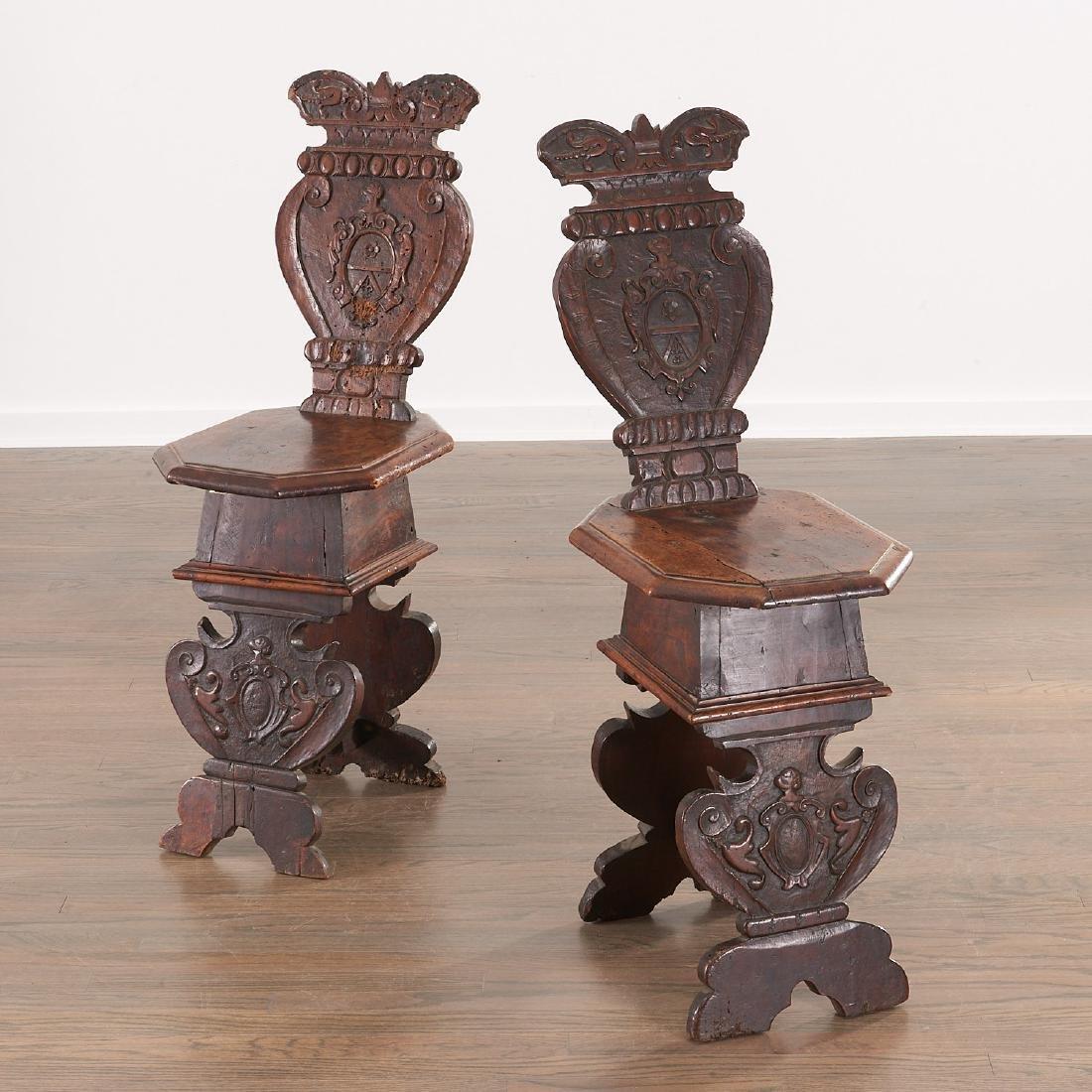 Pair Italian walnut Sgabello chairs