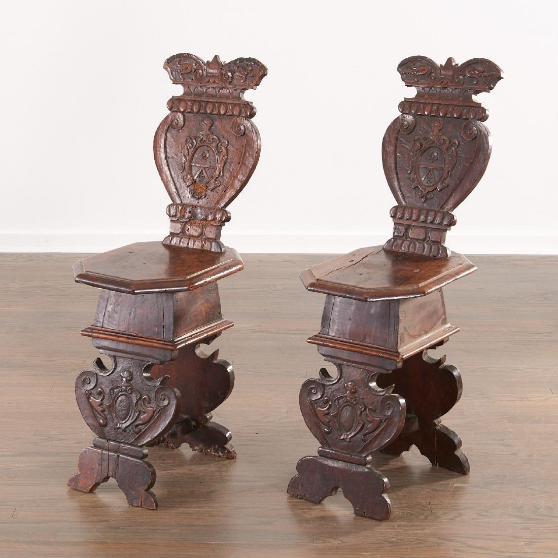 Pair Italian walnut Sgabello chairs - 2