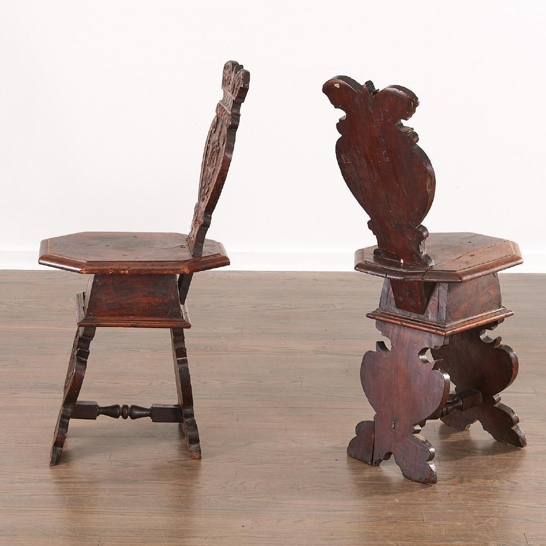 Pair Italian walnut Sgabello chairs - 7