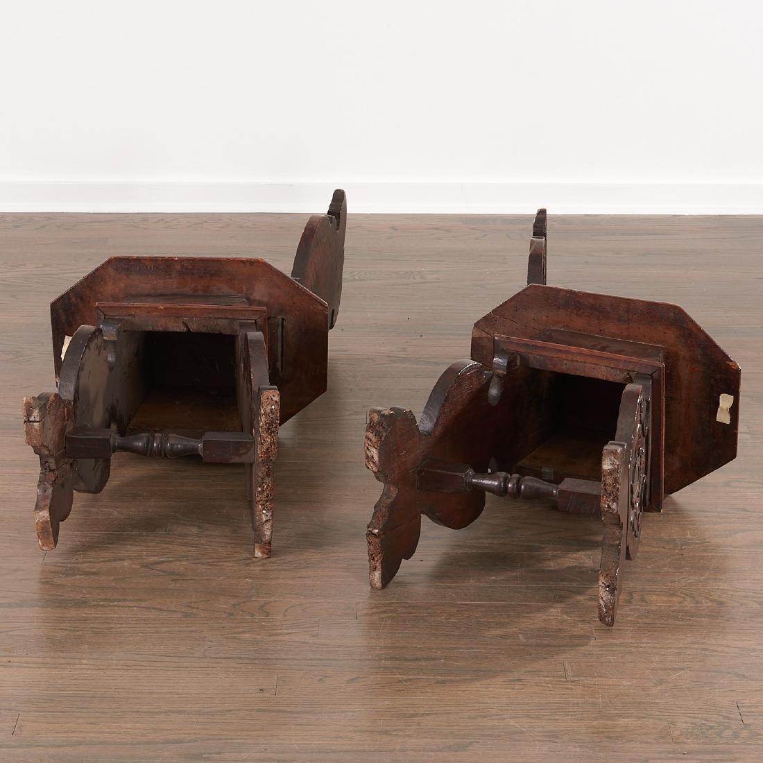 Pair Italian walnut Sgabello chairs - 9