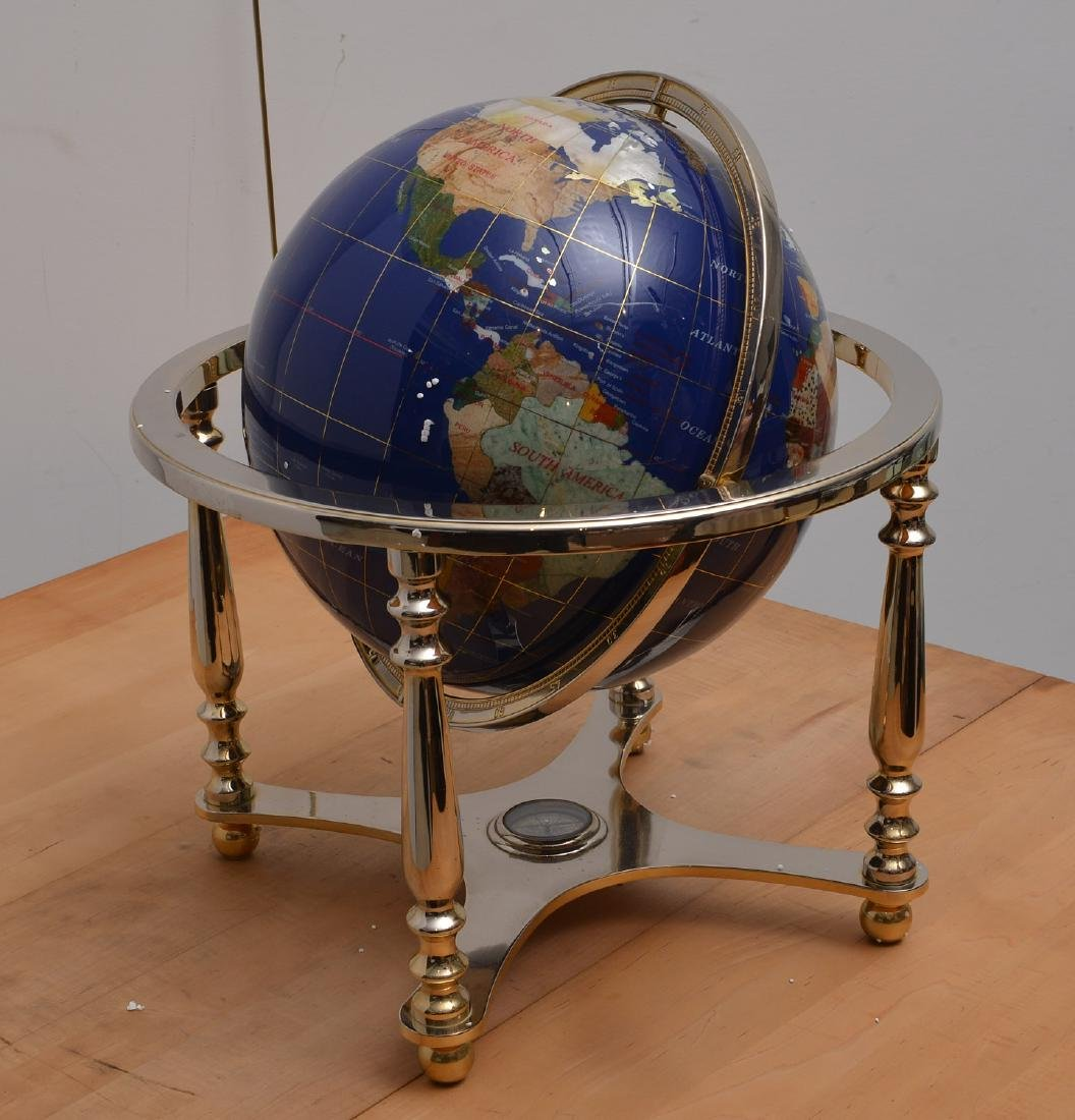 Lapis and gemstone set tabletop terrestrial globe