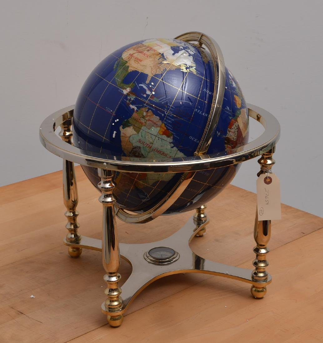Lapis and gemstone set tabletop terrestrial globe - 2