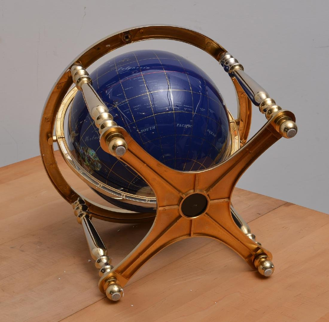 Lapis and gemstone set tabletop terrestrial globe - 7