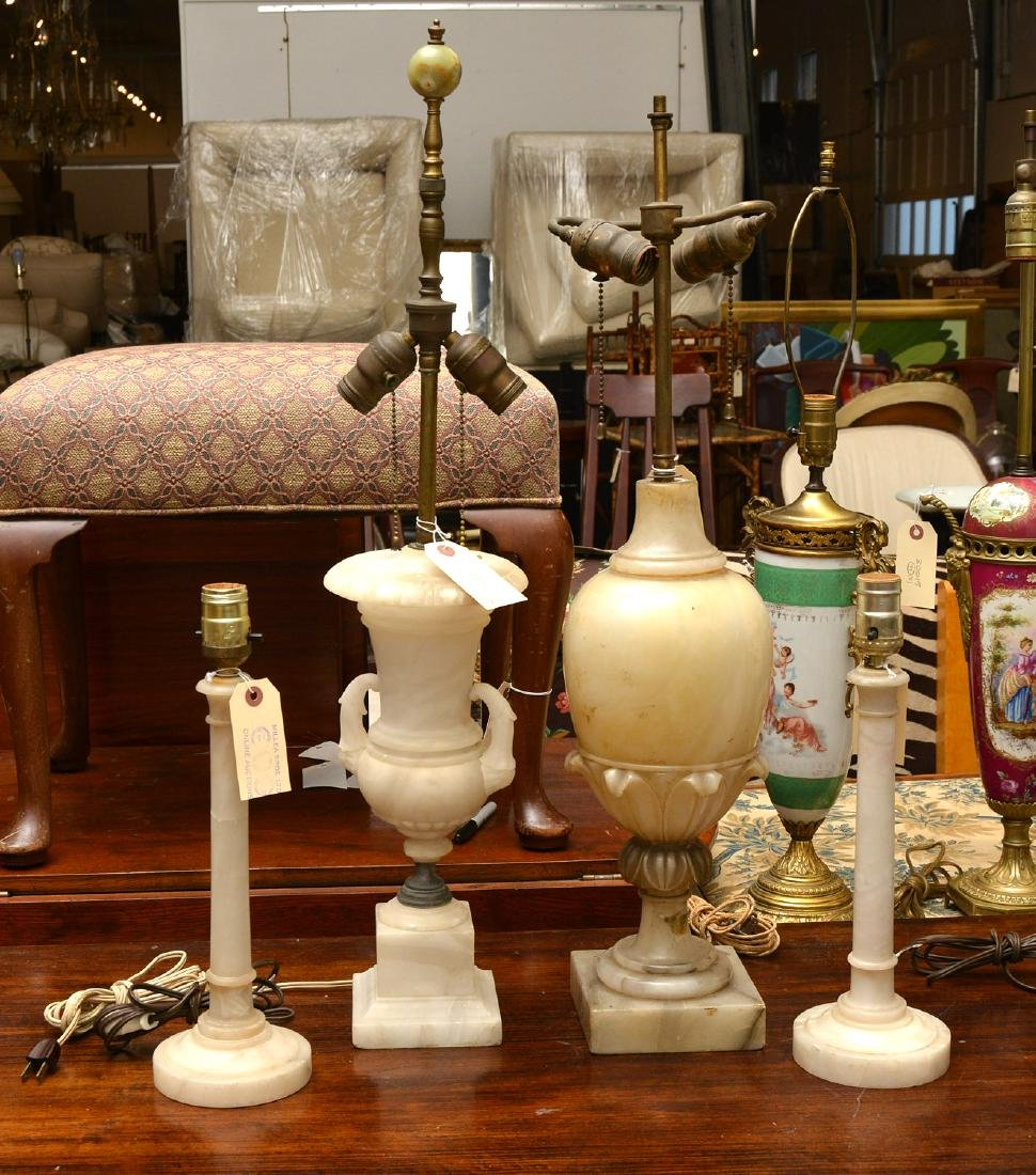 (5) Italian marble and alabaster table lamps