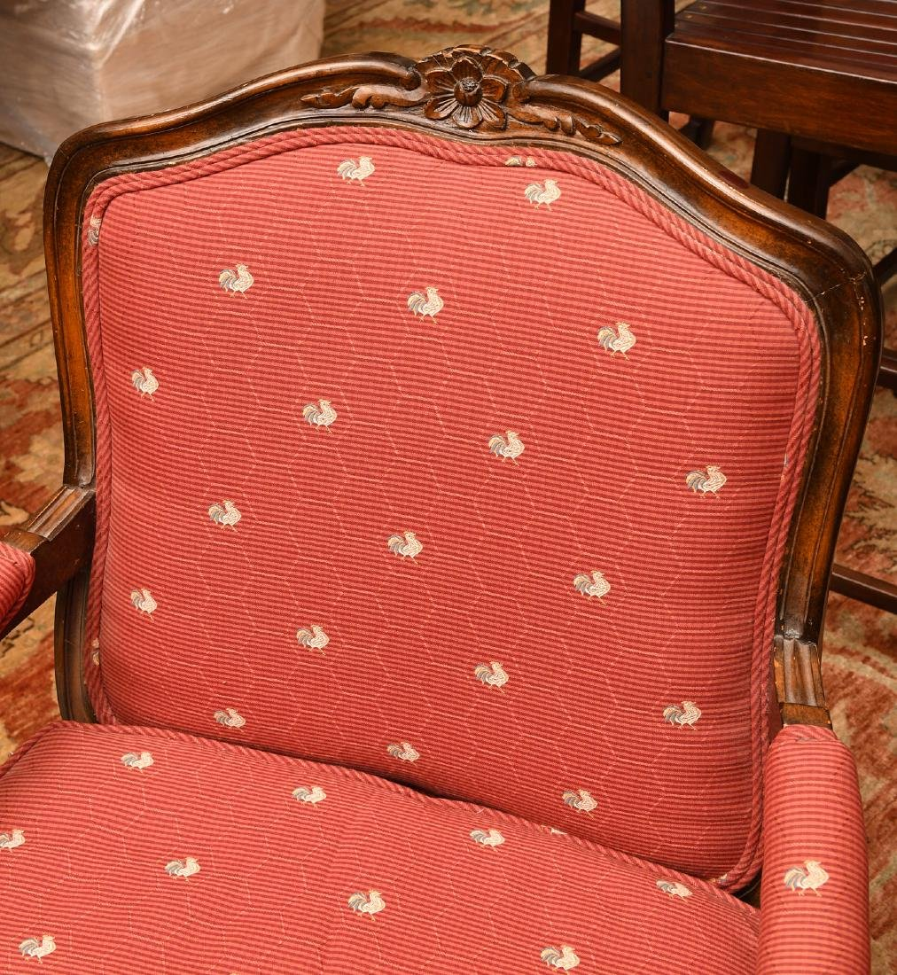 Pair Country French upholstered arm chairs - 2