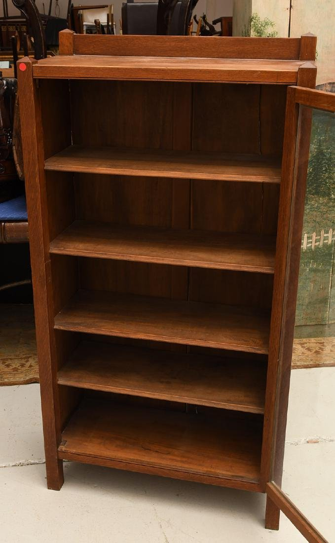 Arts & Crafts oak bookcase cabinet - 2