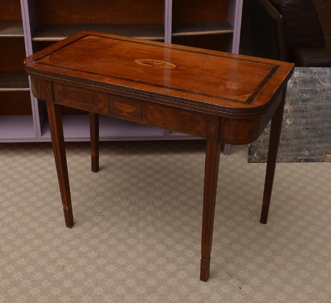 Antique mahogany inlaid games table - 2