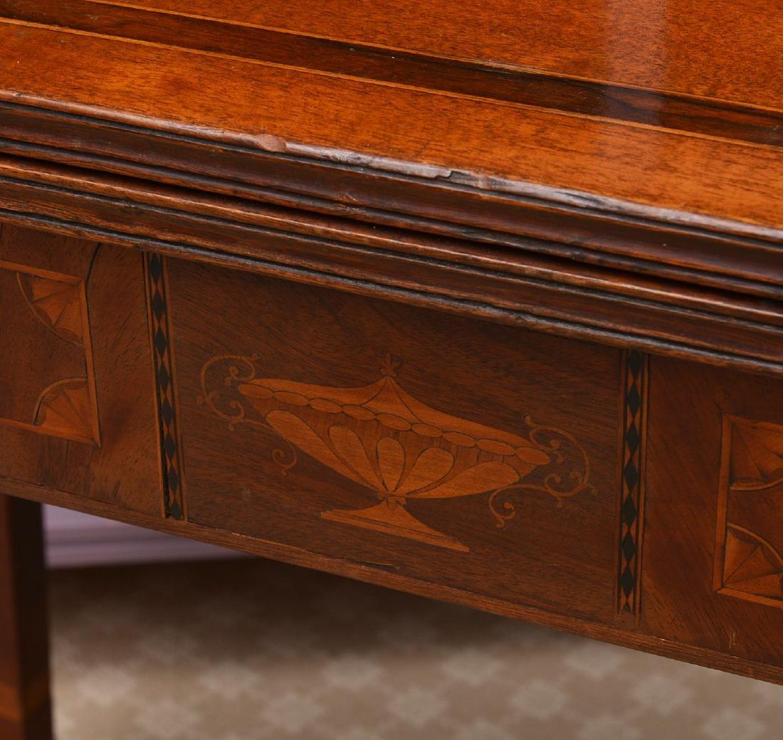 Antique mahogany inlaid games table - 3