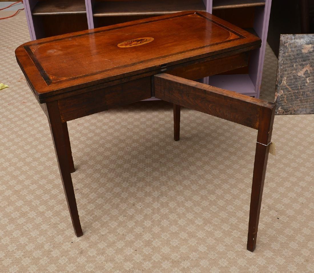 Antique mahogany inlaid games table - 5