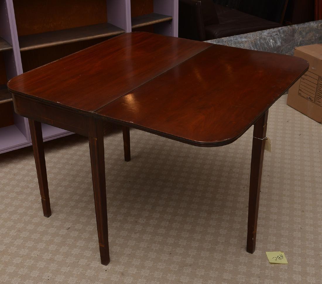 Antique mahogany inlaid games table - 6