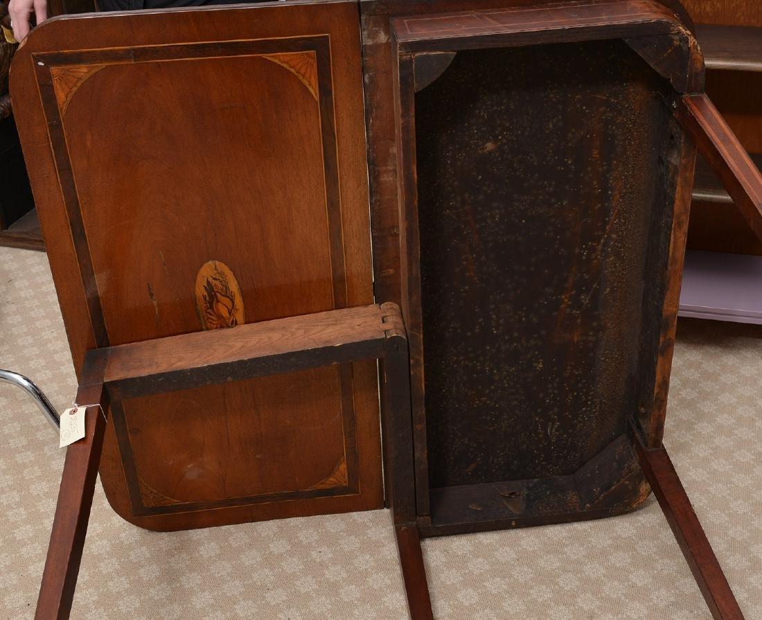 Antique mahogany inlaid games table - 8