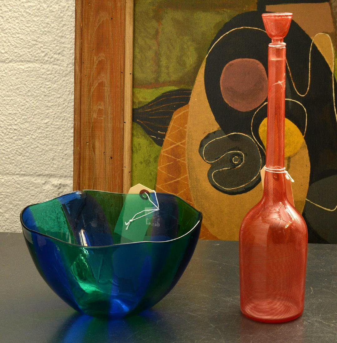 Venini glass bowl and bottle with stopper