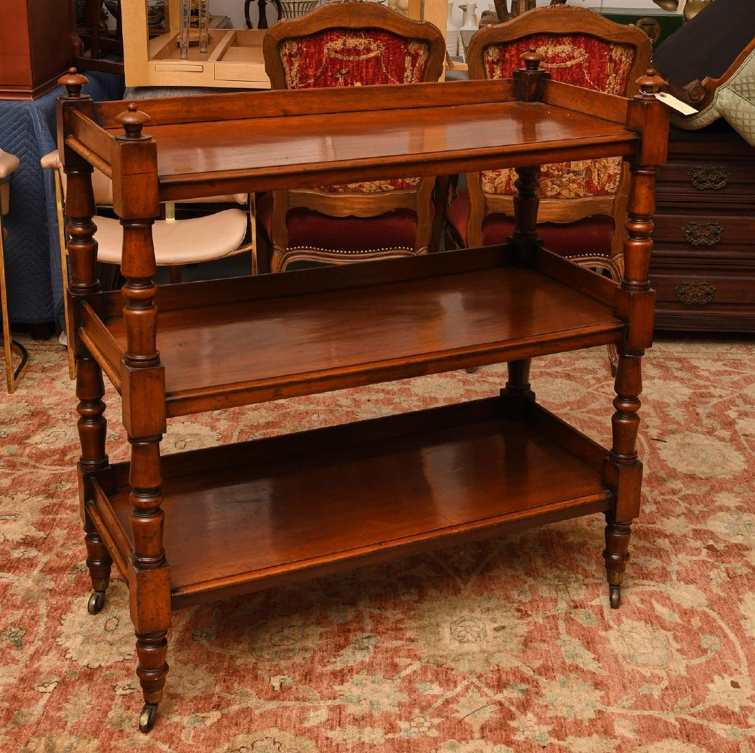 Sheraton style mahogany serving trolley