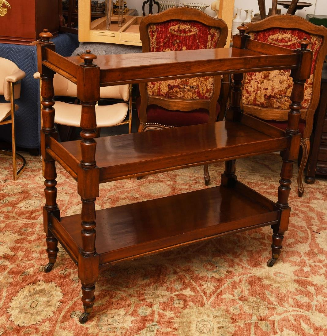 Sheraton style mahogany serving trolley - 4