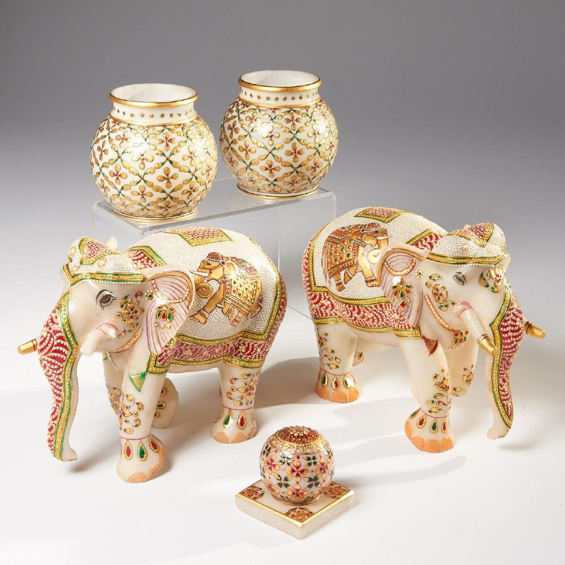 Group Indian carved marble ornaments