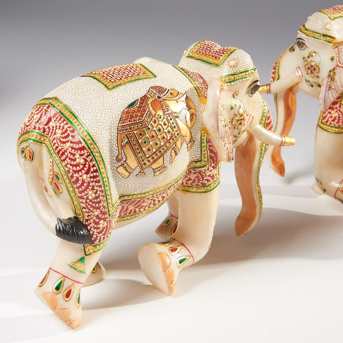 Group Indian carved marble ornaments - 3