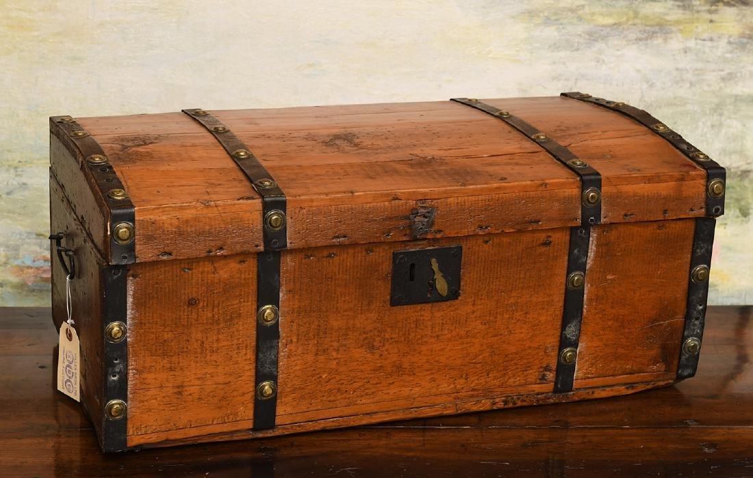 Metal bound wooden chest