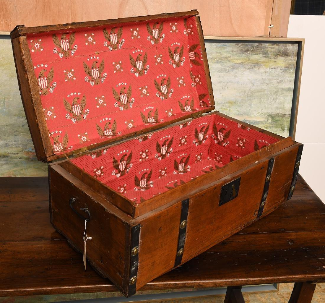 Metal bound wooden chest - 4