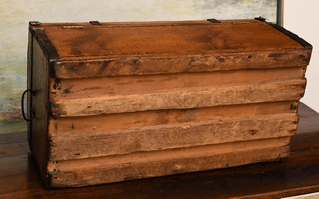 Metal bound wooden chest - 7