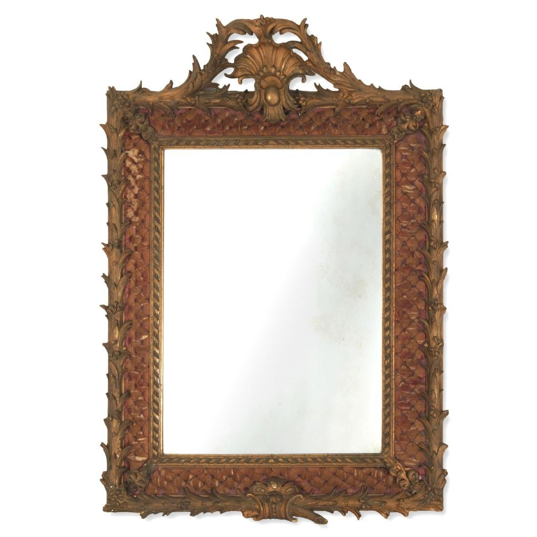 Continental Rococo gilt and tufted silk mirror