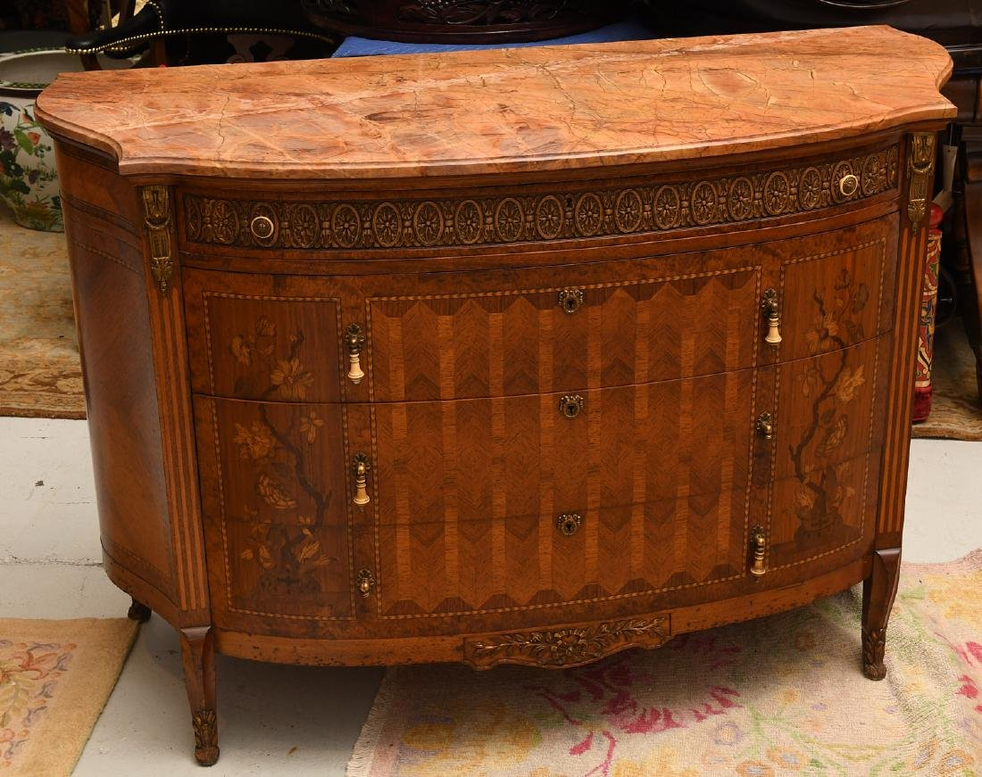 Transitional Louis XVI style marble top commode
