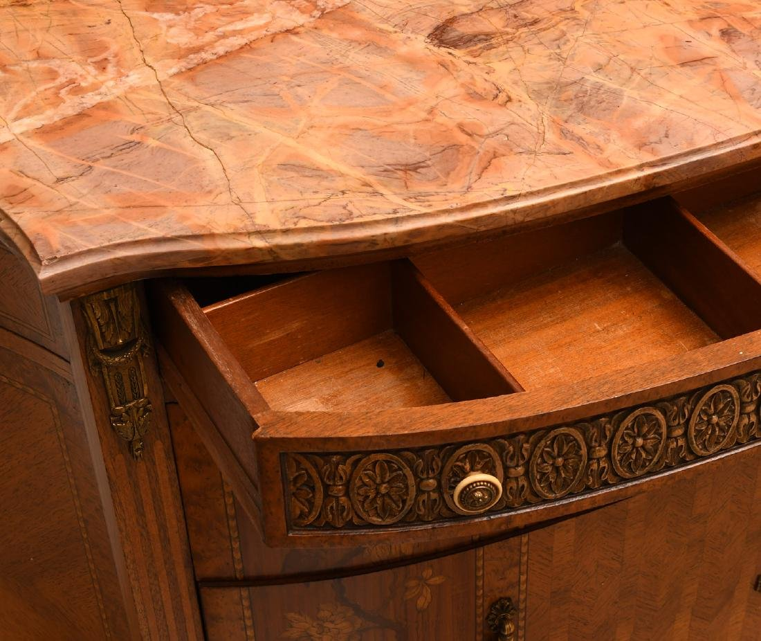 Transitional Louis XVI style marble top commode - 3