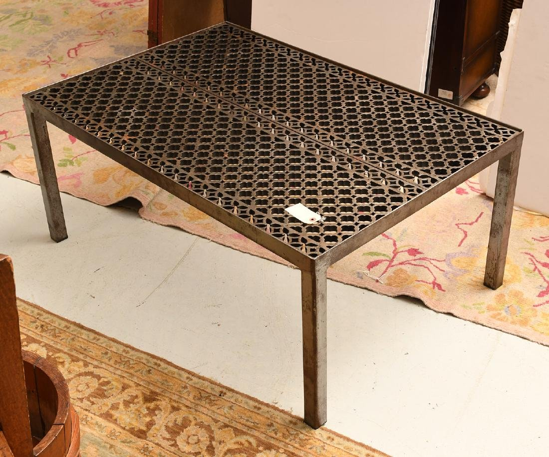 Industrial steel and iron cocktail table