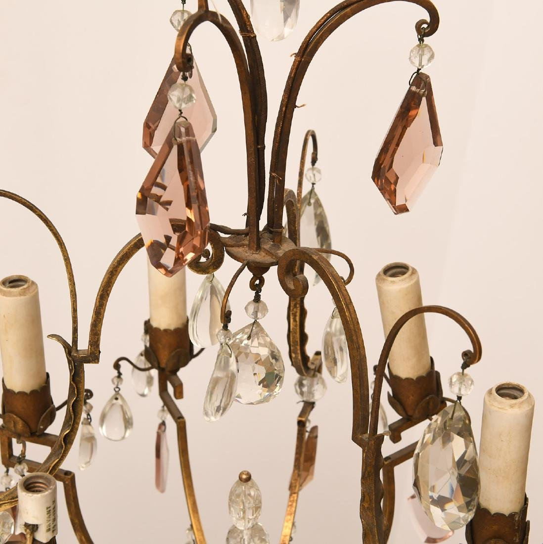 Louis XV style brass and crystal chandelier - 4