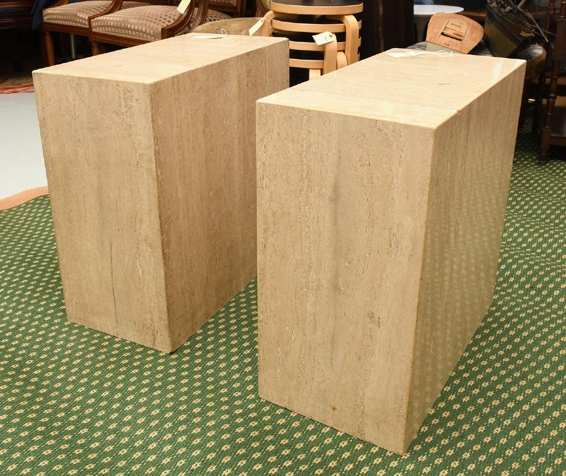 Pair travertine marble pedestal tables