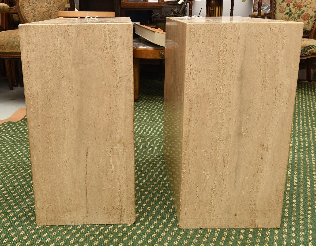 Pair travertine marble pedestal tables - 5