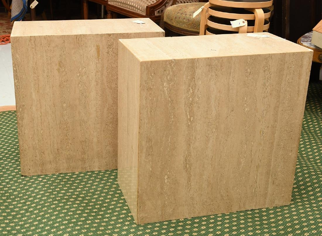 Pair travertine marble pedestal tables - 7