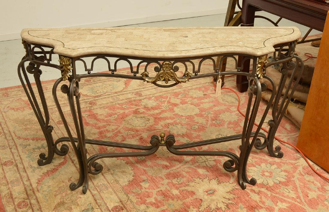 Louis XV style wrought iron, brass console table