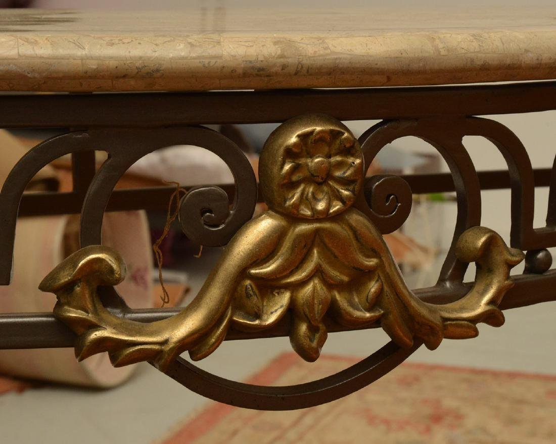 Louis XV style wrought iron, brass console table - 2