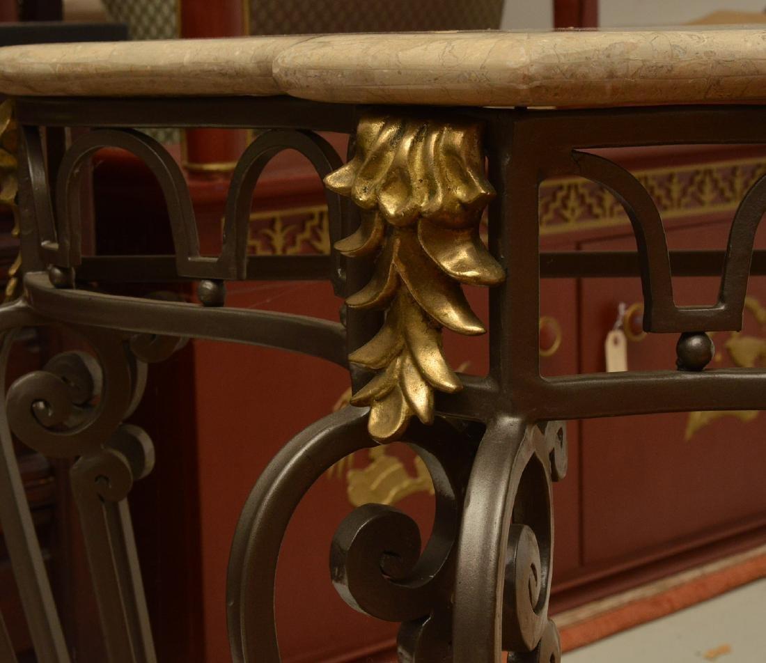 Louis XV style wrought iron, brass console table - 3