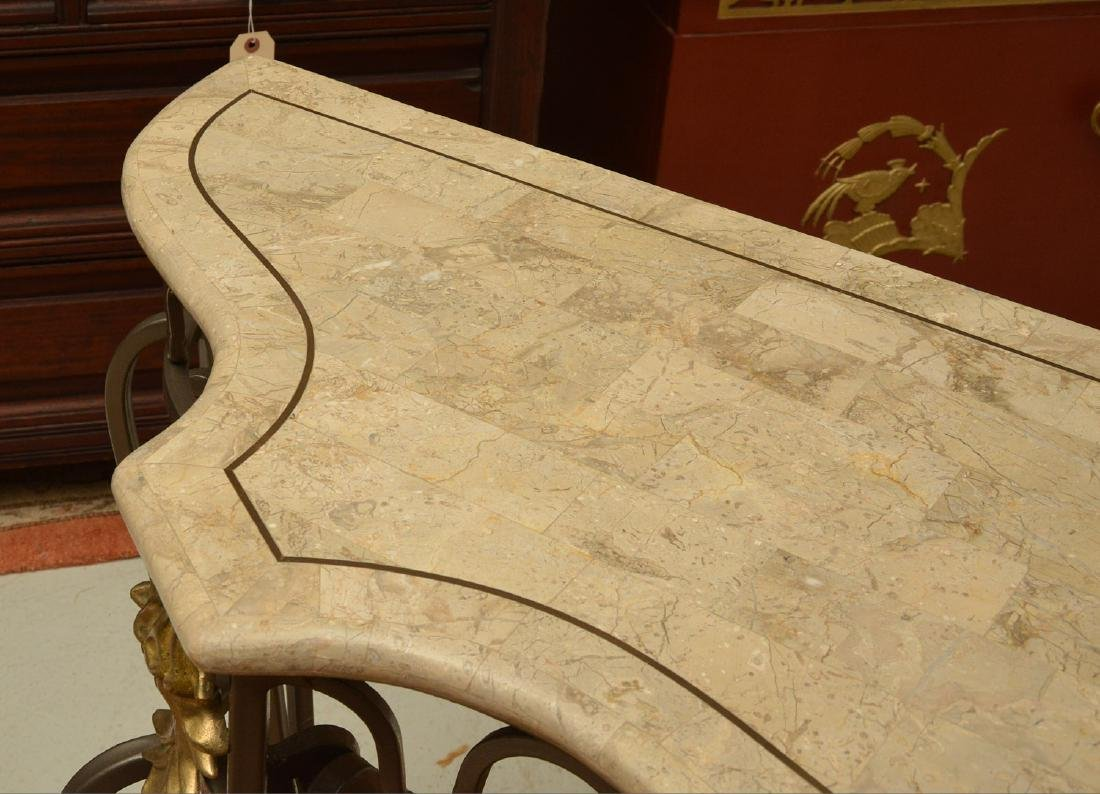 Louis XV style wrought iron, brass console table - 4