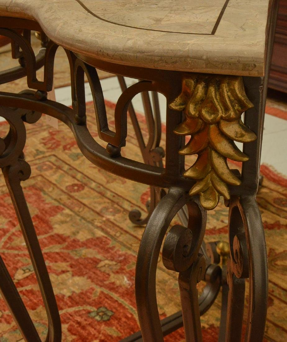 Louis XV style wrought iron, brass console table - 5