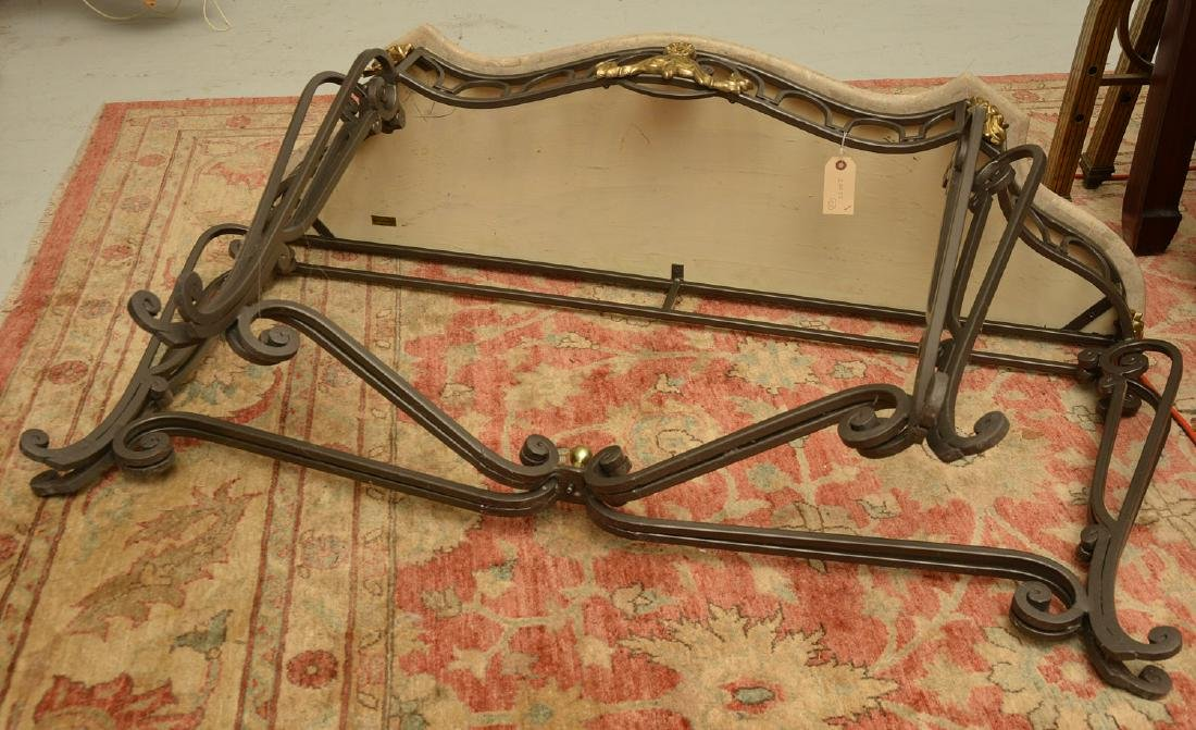 Louis XV style wrought iron, brass console table - 8
